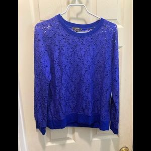 Stella & dot royal blue lace pull over long sleeve